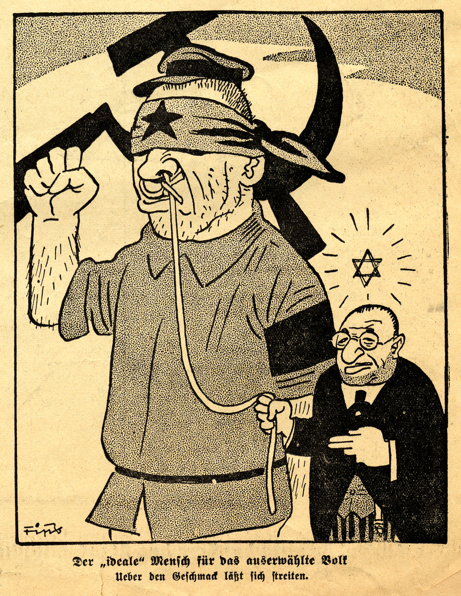 Antisemitic cartoon showing a Jew leading a Soviet official by a leash drawn by Fips, the caricaturist for Der Stuermer.