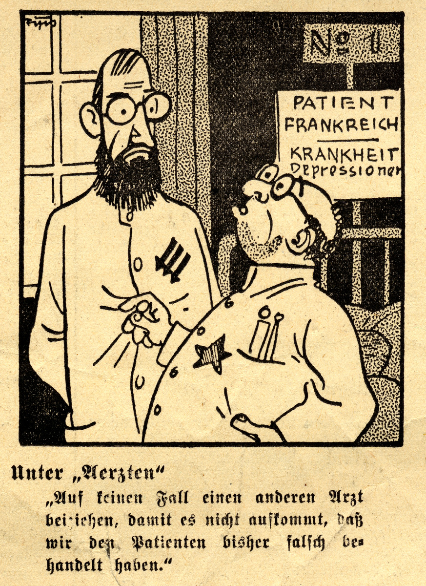 Antisemitic cartoon drawn by Fips, the caricaturist for Der Stuermer.