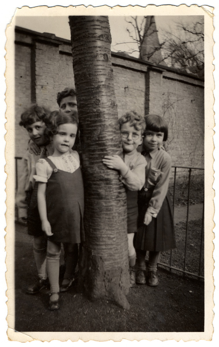 Sonia Pressman (far right with bangs), a German-Jewish refugee from Nazi Germany, with other kindergarten children in Antwerp, Belgium, in March 1934.