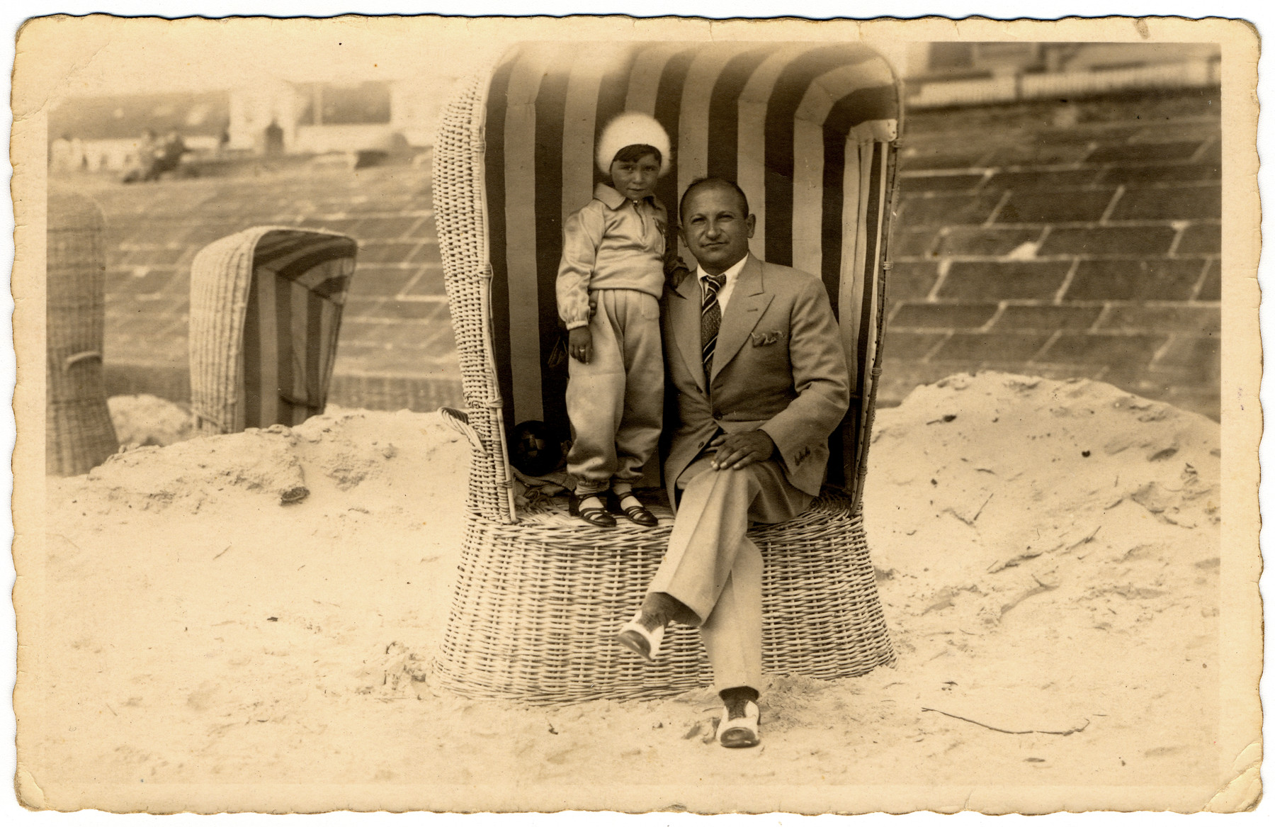 Sonia Pressman and her father, Zysia, in a beach cabana in Germany in the early 1930s.
