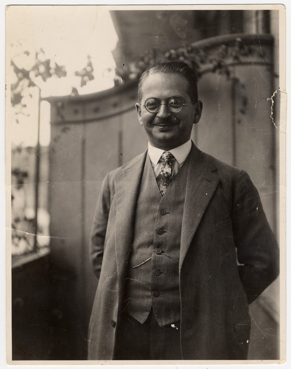 Close-up portrait of Dr. Hans Adolf Bujakowski on the balcony of his apartment.