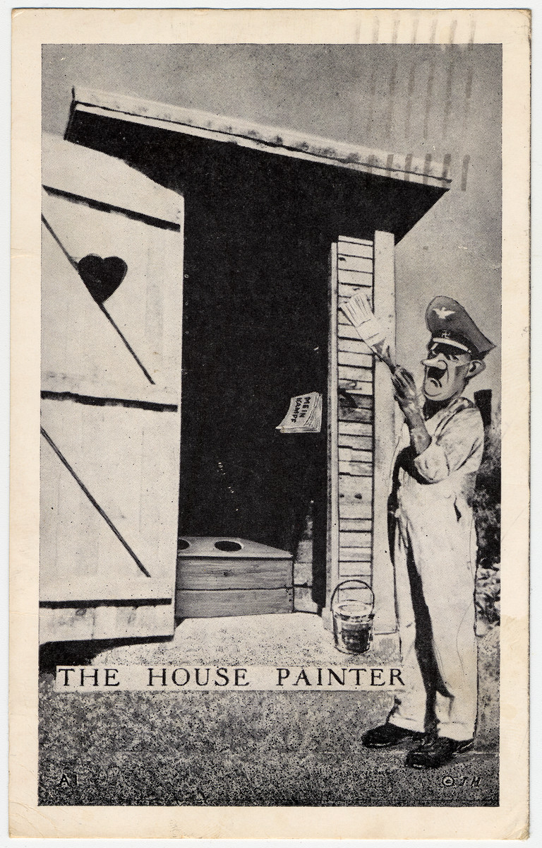 "Postcard decorated with a caricature of Hitler painting an outhouse.  The postcard was sent from an American soldier from Fort Sill who writes: ""Don't I wish this picture were true.  Maybe it will be some day."""