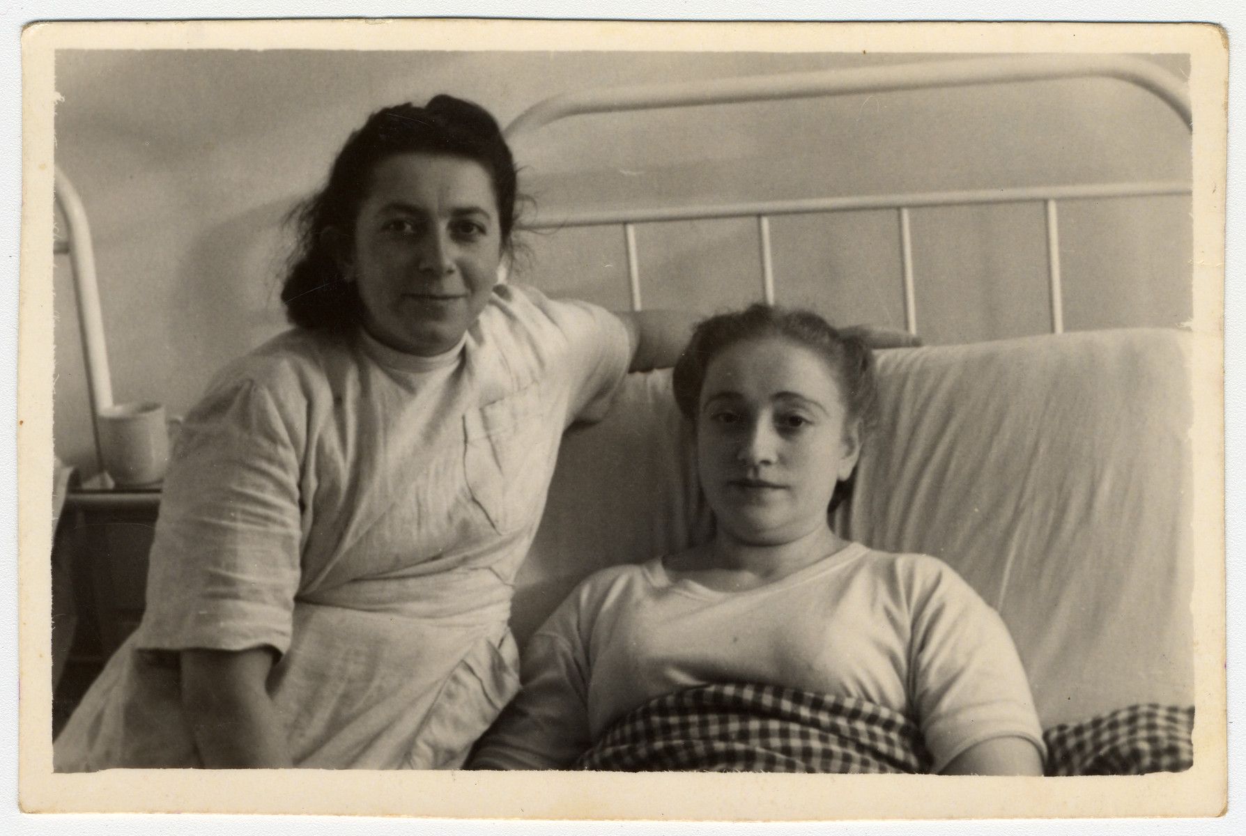 Regina Gertner convalesces in the hospital at the Foehrenwald Displaced Persons Camp.