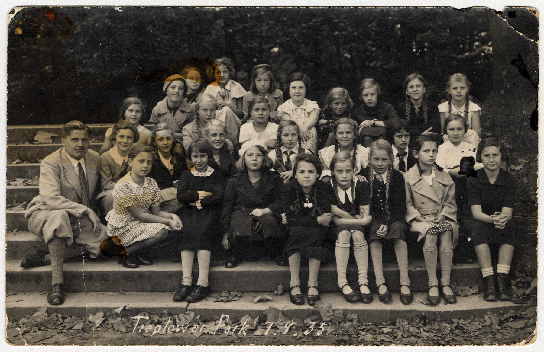 Students in the Agnes Miegel School (now called the Albert Schweitzer Gymnasium) in Berlin.  Helga Bujakowski, the only Jewish girl in the class, is pictured in the second row, center with a white shirt and tie and long braids.