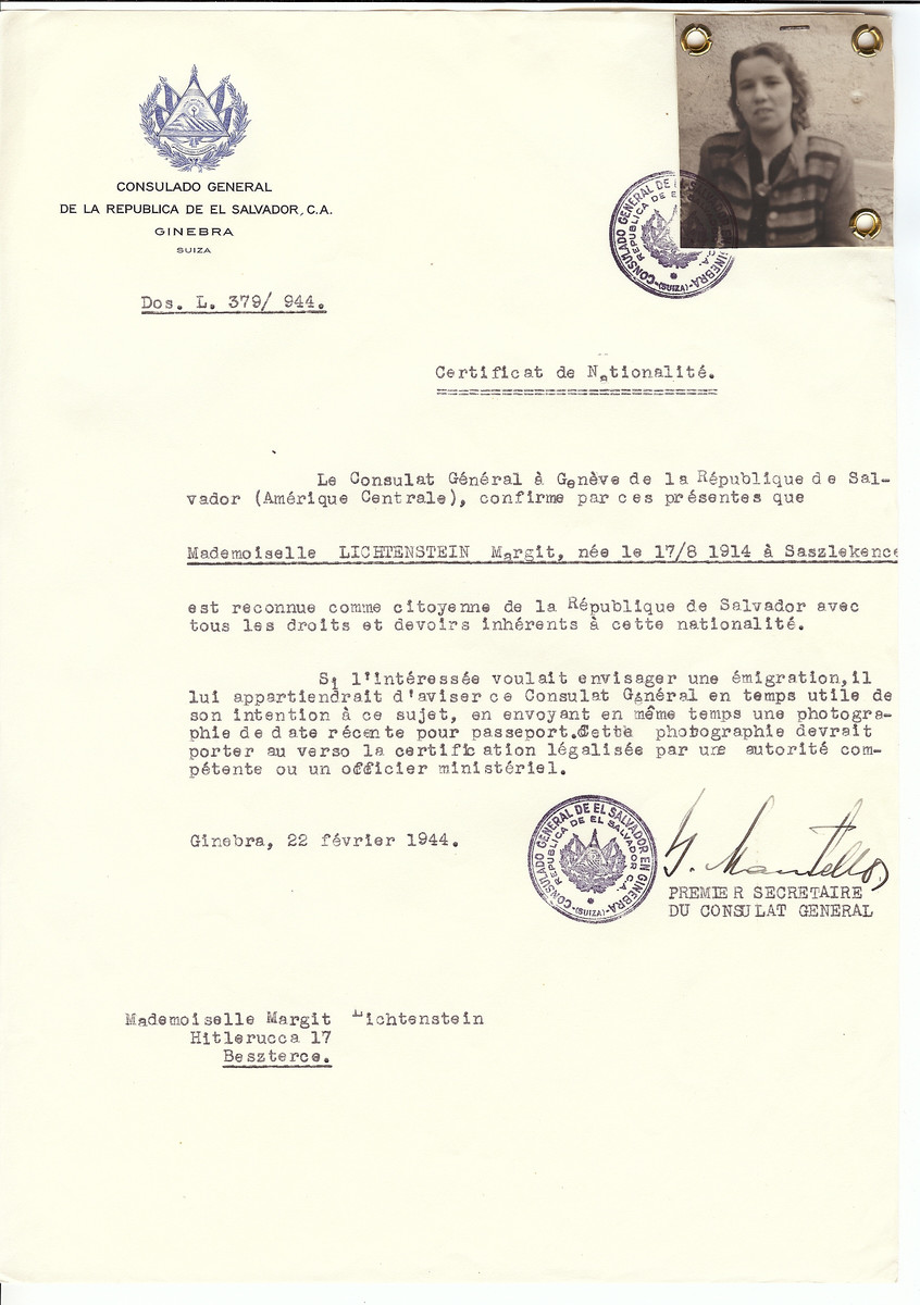 Unauthorized Salvadoran citizenship certificate made out to Margit Lichtenstein (b. August 17, 1914 in Saszlekence) by George Mandel-Mantello, First Secretary of the Salvadoran Consulate in Geneva and sent to her in Beszterec.
