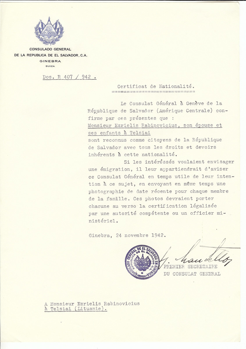 Unauthorized Salvadoran citizenship certificate made out to Ezrielis Rabinovicius, his wife and children by George Mandel-Mantello, First Secretary of the Salvadoran Consulate in Geneva and sent to them in Telsiai.