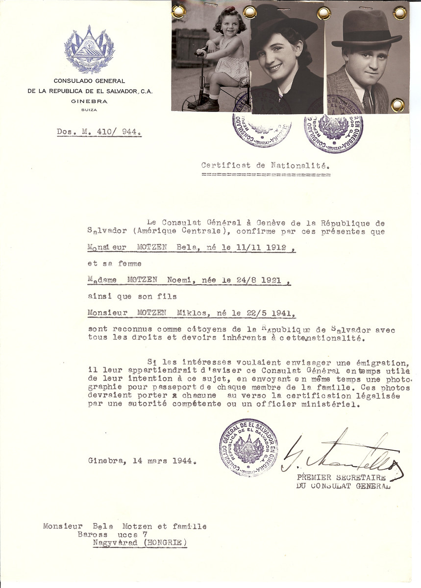 Unauthorized Salvadoran citizenship certificate issued to Bela Motzen (b. November 11, 1912), his wife Noemi Motzen (b. August 24, 1921) and their son Miklos (b. May 5, 1941) by George Mandel-Mantello, First Secretary of the Salvadoran Consulate in Switzerland and sent to their residence in Nagyvarad.    The family was killed in Auschwitz after having been deported from Grosswardein in May 1944. Bela was killed in Auschwitz on June 3, 1944. Noemi and Miklos were also killed but the date is uncertain.