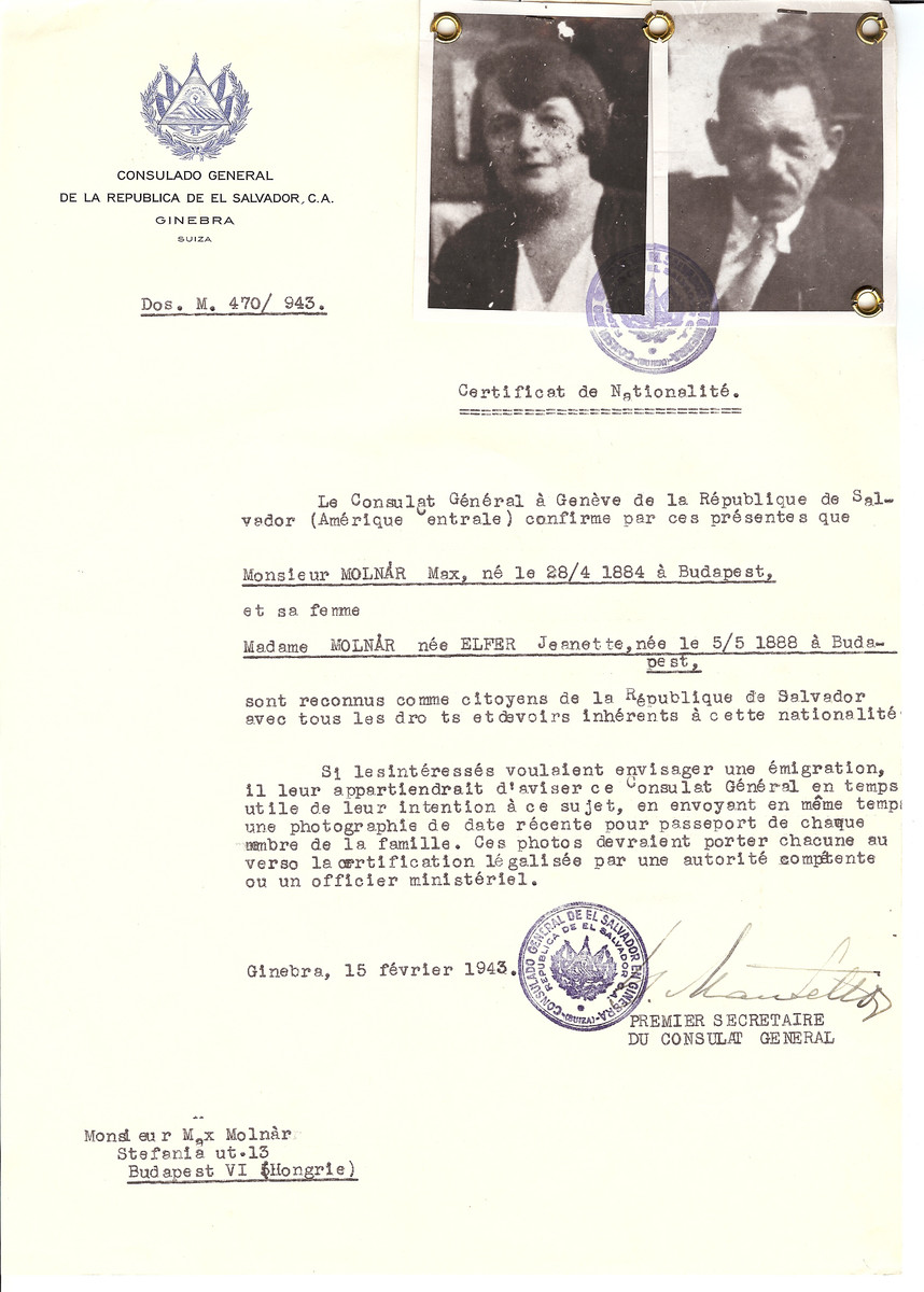 Unauthorized Salvadoran citizenship certificate issued to Max Molnar (b. April 28, 1884 in Budapest) and his wife Jeanette (nee Elfer) Molnar (b. May 5, 1888 in Budapest) by George Mandel-Mantello, First Secretary of the Salvadoran Consulate in Switzerland and sent to their residence in Budapest.