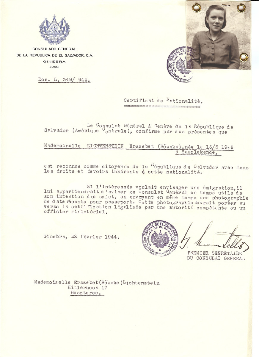 Unauthorized Salvadoran citizenship certificate made out to Erszebet Lichtenstein (b. March 16, 1916 in Saszlekence) by George Mandel-Mantello, First Secretary of the Salvadoran Consulate in Geneva and sent to her in Beszterce.