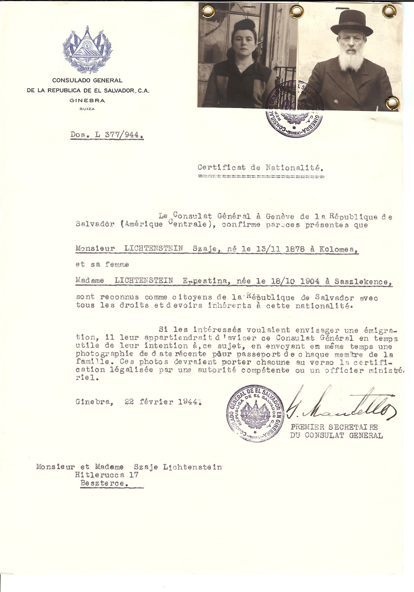 Unauthorized Salvadoran citizenship certificate made out to Szaje Lichtenstein (b. November 13, 1878 in Kolomea) and his wife Ernestina Lichtenstein (b. October 18, 1904 in Saszlekence) by George Mandel-Mantello, First Secretary of the Salvadoran Consulate in Geneva and sent to them in Beszterec.
