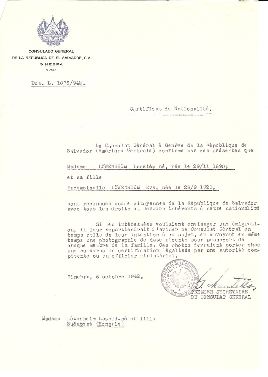 Unauthorized Salvadoran citizenship certificate made out to Laszlo Lowenheim (b. November 29, 1890) and his daughter Eva (b. September 28, 1921) by George Mandel-Mantello, First Secretary of the Salvadoran Consulate in Geneva and sent to them in Budapest.