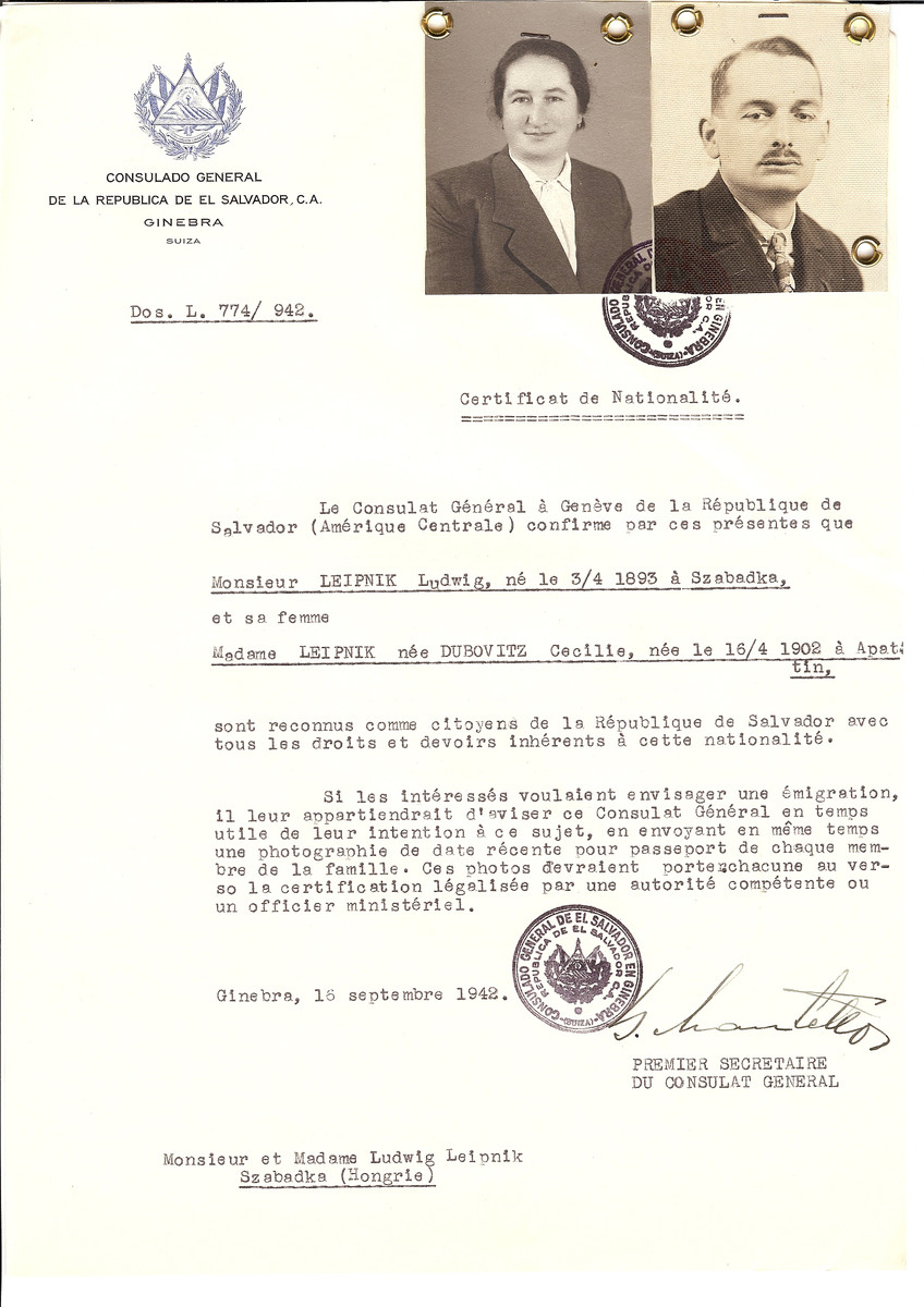Unauthorized Salvadoran citizenship certificate made out to Ludwig Leipnik (b. april 3, 1893 in Szabadka) and his wife Cecilie (nee Dubovitz) Leipnik (b. April 16, 1902 in Apatin) by George Mandel-Mantello, First Secretary of the Salvadoran Consulate in Geneva and sent to them in Szabadka.