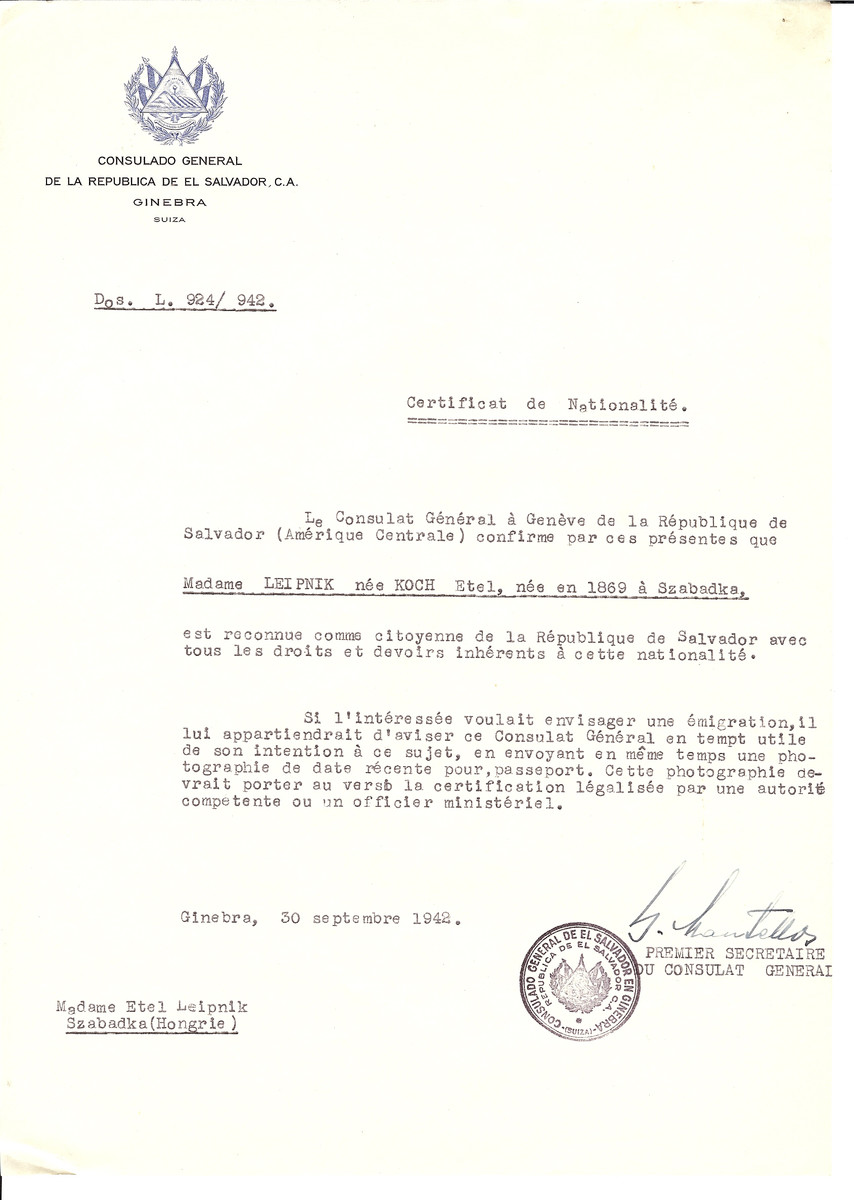 Unauthorized Salvadoran citizenship certificate made out to Etel (nee Koch) Leipnik (b. 1869 in Szabadka) by George Mandel-Mantello, First Secretary of the Salvadoran Consulate in Geneva and sent to her in Szabadka.