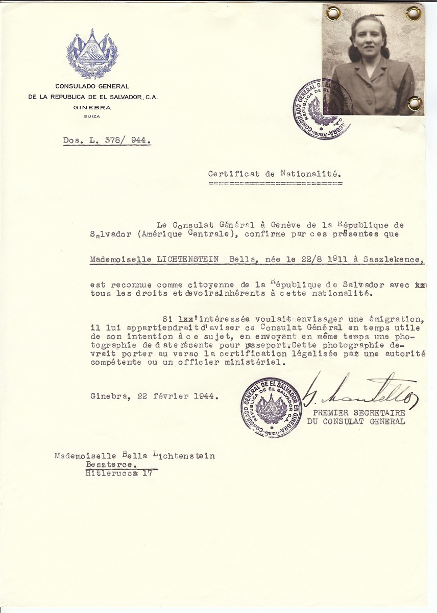 Unauthorized Salvadoran citizenship certificate made out to Bella Lichtenstein (b. August 22, 1911 in Saszlekence) by George Mandel-Mantello, First Secretary of the Salvadoran Consulate in Geneva and sent to her in Beszterec.