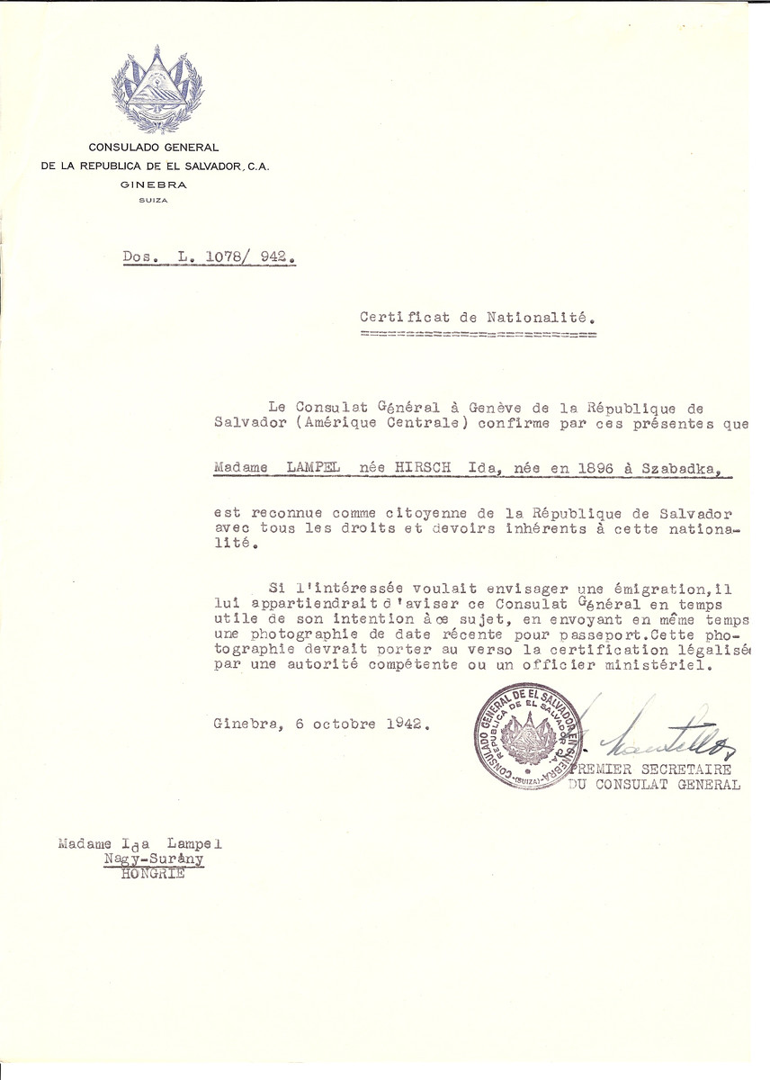 Unauthorized Salvadoran citizenship certificate made out to Ida (nee Hirsch) Lampel (b. 1896 in Szabadka by George Mandel-Mantello, First Secretary of the Salvadoran Consulate in Geneva and sent to her in Surany.