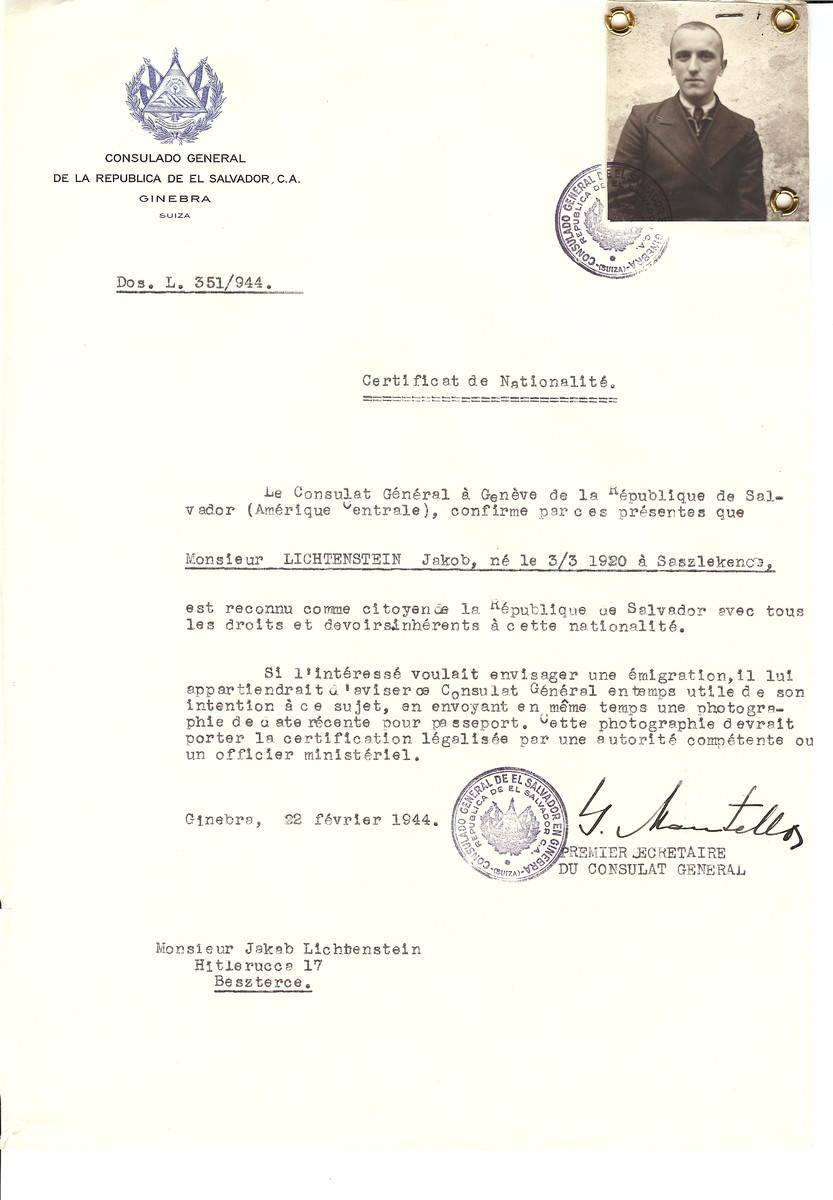 Unauthorized Salvadoran citizenship certificate made out to Jakob Lichtenstein (March 3, 1920 in Saszlenkecs) by George Mandel-Mantello, First Secretary of the Salvadoran Consulate in Geneva and sent to him in Beszterec.