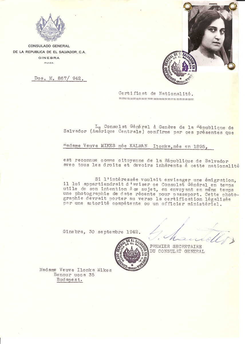 Unauthorized Salvadoran citizenship certificate issued to Ilonka (nee Kalman) Mikes (b. 1895) by George Mandel-Mantello, First Secretary of the Salvadoran Consulate in Switzerland and sent to her residence in Budapest.