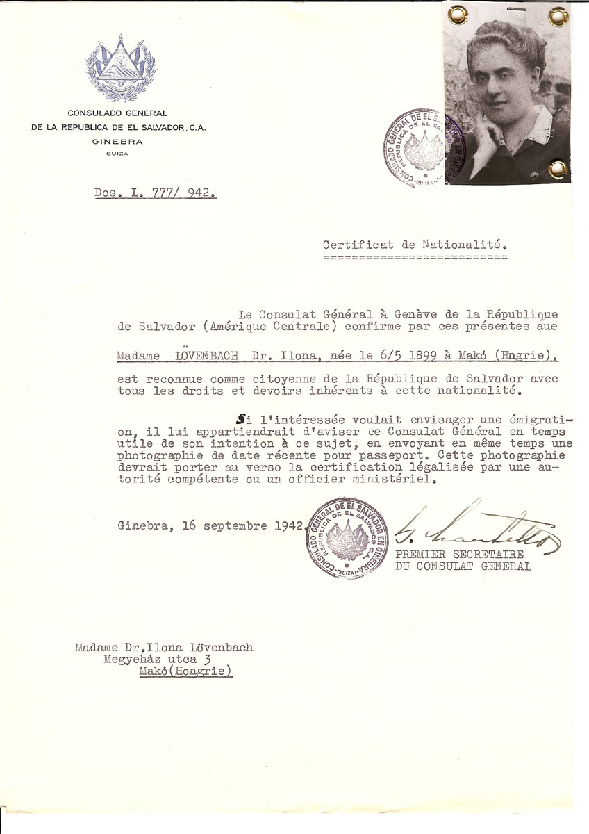 Unauthorized Salvadoran citizenship certificate made out to Dr. Ilona Loevenbach (b. May 6, 1899 in Mako) by George Mandel-Mantello, First Secretary of the Salvadoran Consulate in Geneva and sent to her in Mako.