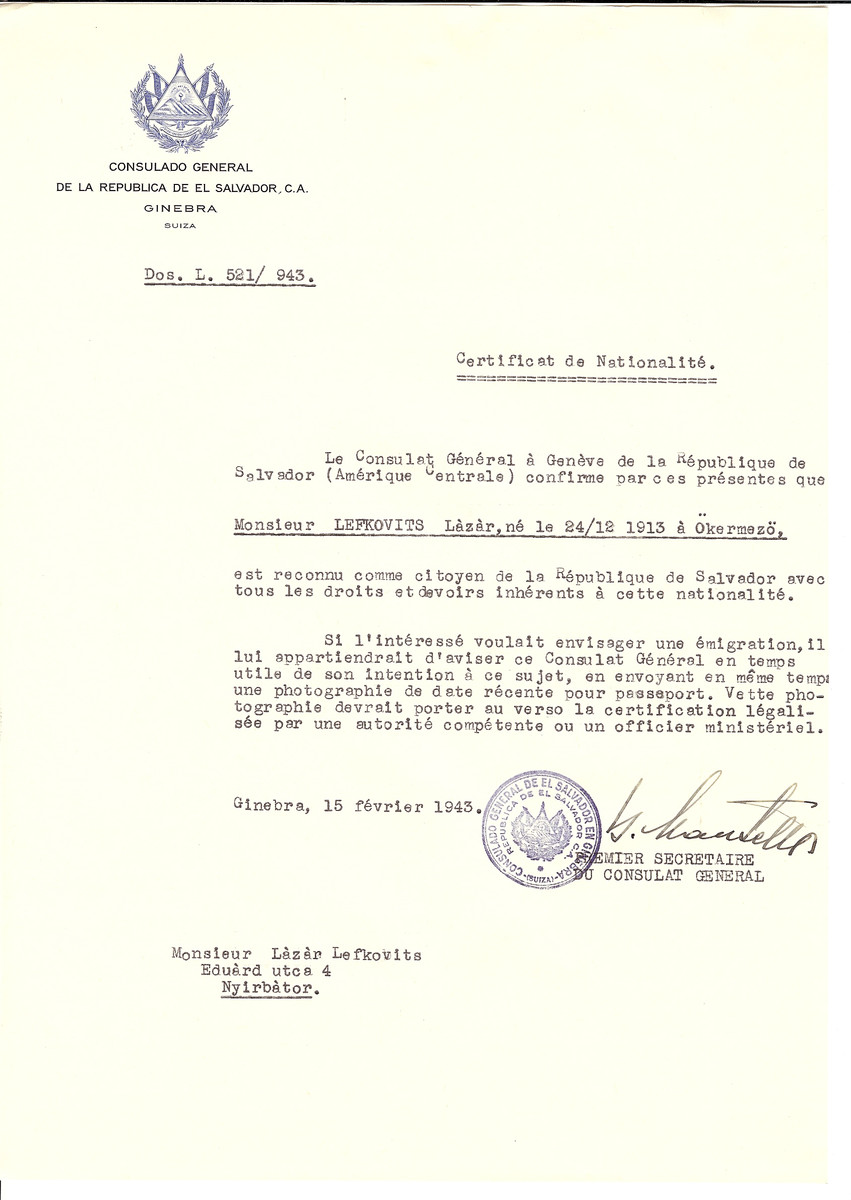 Unauthorized Salvadoran citizenship certificate made out to Lazar Lefkovits (b. December 24, 1913 in Okermezo) by George Mandel-Mantello, First Secretary of the Salvadoran Consulate in Geneva and sent to him in Nyirbator.