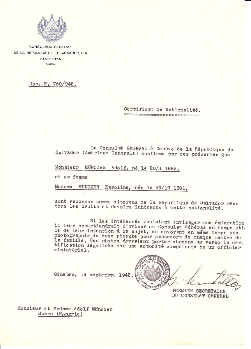 Unauthorized Salvadoran citizenship certificate issued to Adolf Munczer (b. January 20, 1882) and his wife Karoline Munczer (b. December 20, 1881) by George Mandel-Mantello, First Secretary of the Salvadoran Consulate in Switzerland and sent to their residence in Szenc.