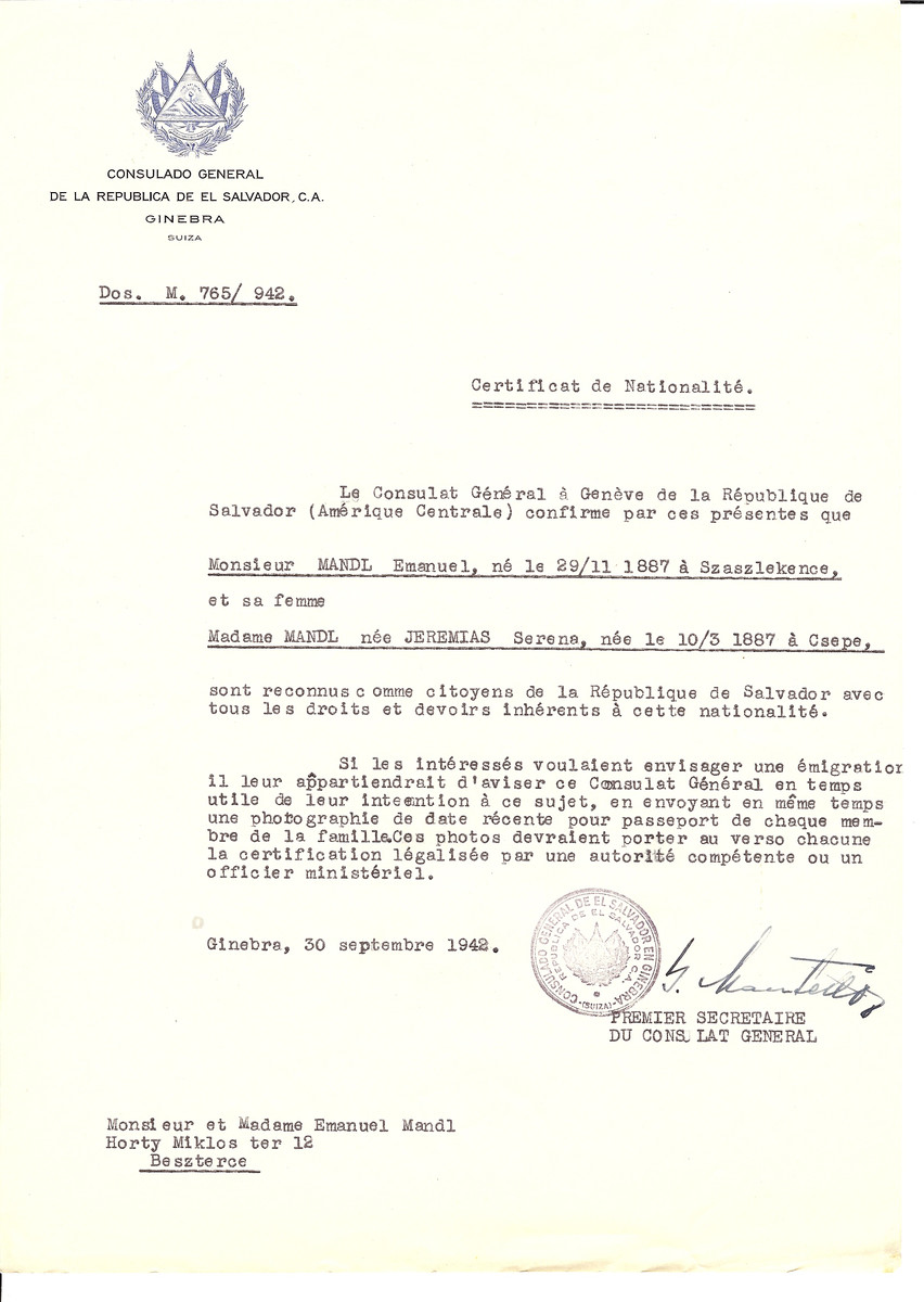 Unauthorized Salvadoran citizenship certificate issued to Emanuel Mandl (b. November 29, 1887 in Szaszlekence) and his wife Serena (nee Jeremias) Mandl (b. March 10, 1887 in Csepe) by George Mandel-Mantello, First Secretary of the Salvadoran Consulate in Switzerland and sent to their residence in Bistrita.