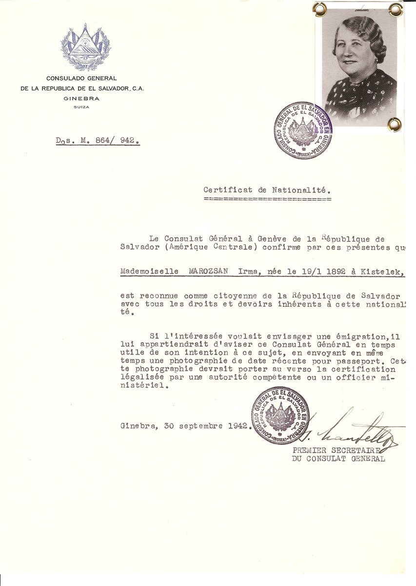 Unauthorized Salvadoran citizenship certificate issued to Irma Marozsan (b. January 19, 1892 in Kistelek) by George Mandel-Mantello, First Secretary of the Salvadoran Consulate in Switzerland.