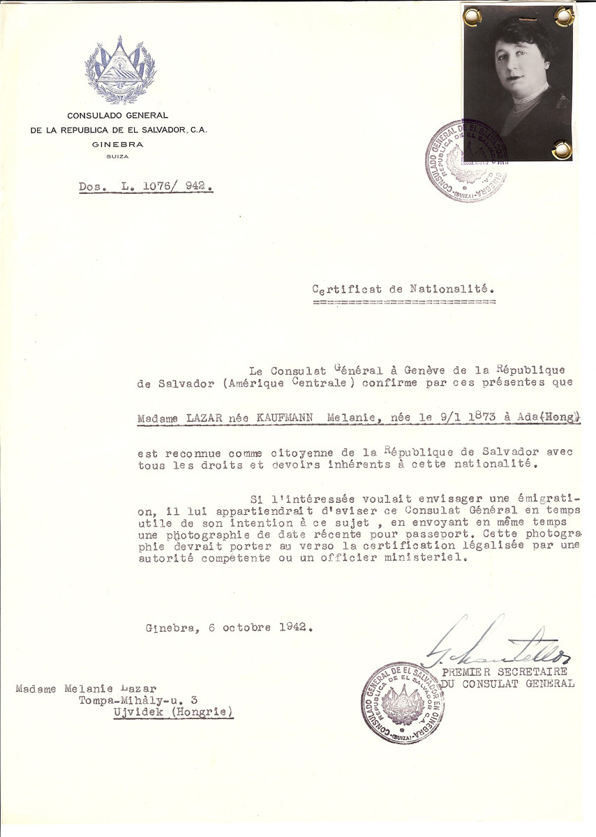 Unauthorized Salvadoran citizenship certificate made out to Melanie (nee Kaufmann) Lazar (b. January 9, 1873 in Ada) by George Mandel-Mantello, First Secretary of the Salvadoran Consulate in Geneva and sent to her in Ujvidek.