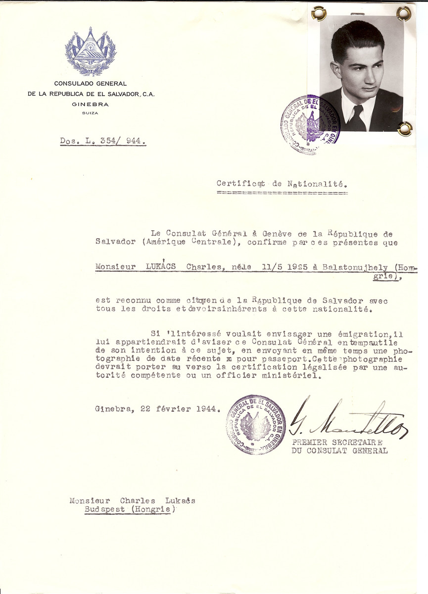 Unauthorized Salvadoran citizenship certificate made out to Charles Lukacs (b. May 11, 1925 in Balatonujhely) by George Mandel-Mantello, First Secretary of the Salvadoran Consulate in Geneva and sent to him in Budapest.