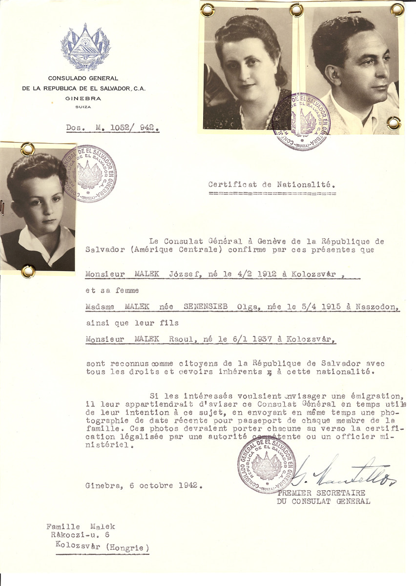 Unauthorized Salvadoran citizenship certificate issued to Jozsef Malek (b. February 4, 1912 in Kolozsvar), his wife Olga (nee Senensieb) Malek (b. April 5, 1915 in Naszodon) and their son Raoul (b.  January 6, 1937) by George Mandel-Mantello, First Secretary of the Salvadoran Consulate in Switzerland and sent to their residence in Kolozsvar.