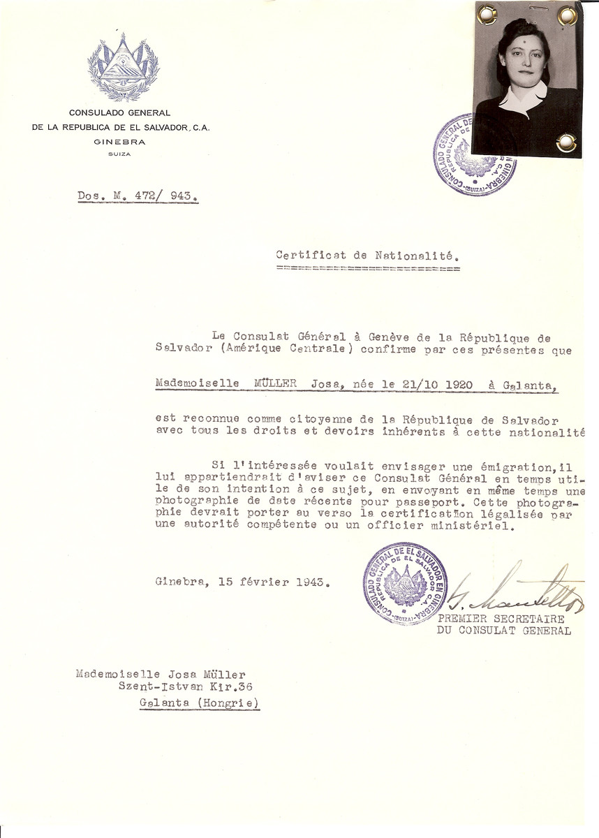 Unauthorized Salvadoran citizenship certificate issued to Josa Muller (b. October 21, 1920 in Galanta) by George Mandel-Mantello, First Secretary of the Salvadoran Consulate in Switzerland and sent to her residence in Galanta.