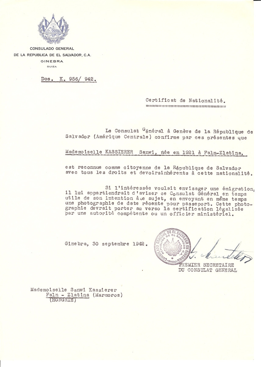 Unauthorized Salvadoran citizenship certificate made out to Sanwi Kassierer (b. 1921 in Faln-Zlatina) by George Mandel-Mantello, First Secretary of the Salvadoran Consulate in Geneva and sent to her in Faln-Zlatina.