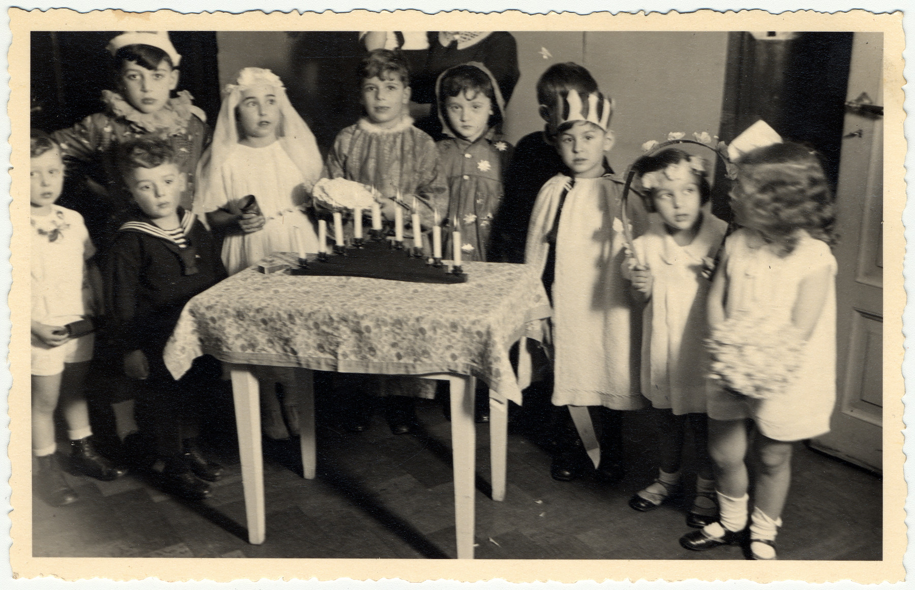 Jewish children celebrate Hannuka in the Jewish kindergarten in Ludwigshafen.