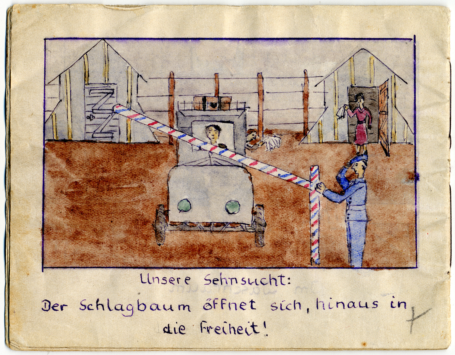 """Page from the memoirs of Camp de Gurs illustrated by Eva Liebhold.  This page is entitled """"Our desire: the barrier is opened into freedom."""""""