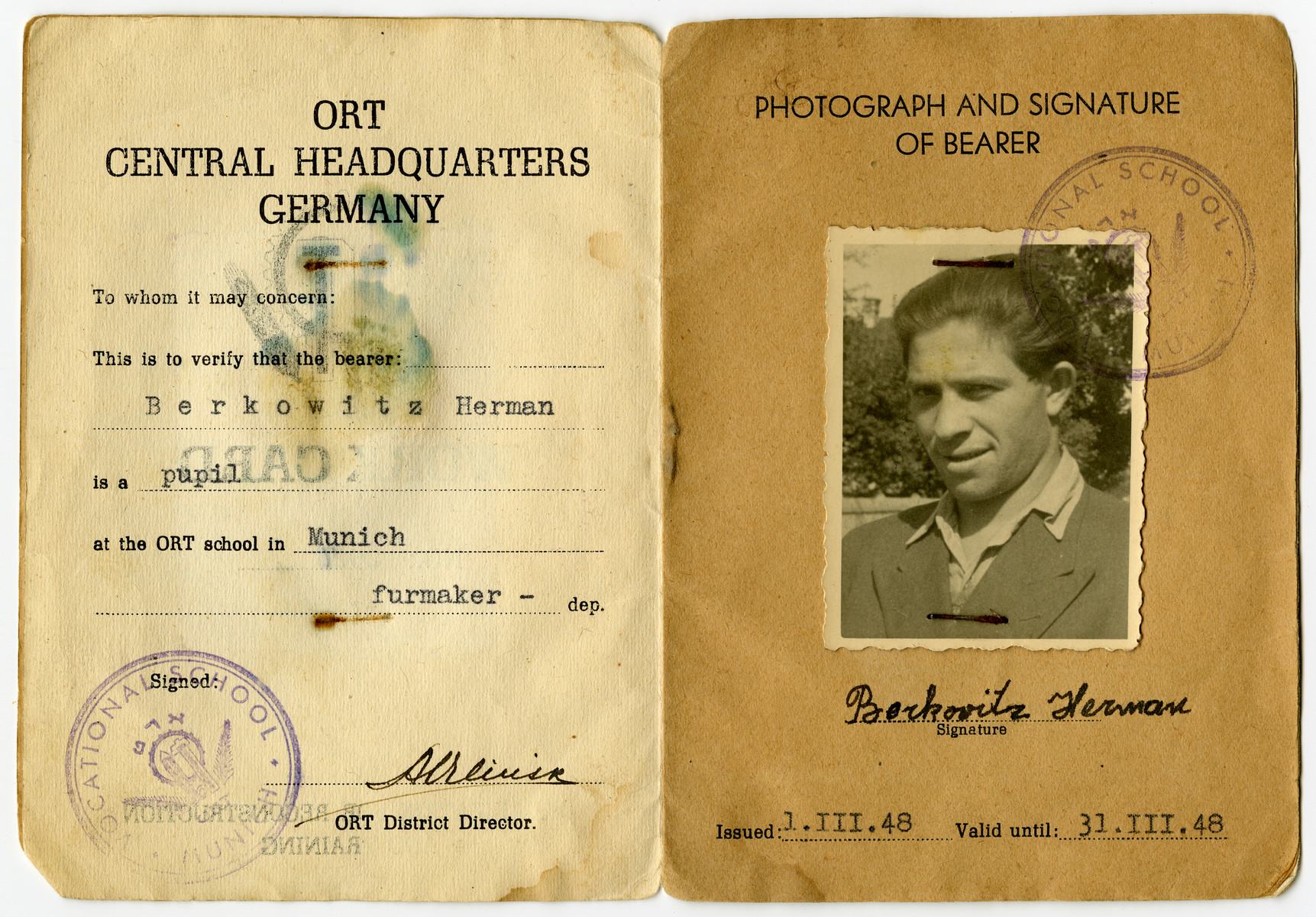 Herman Berkowitz's identification papers for the Organization for Reconstruction and Training (ORT) furmaking class in Munich.