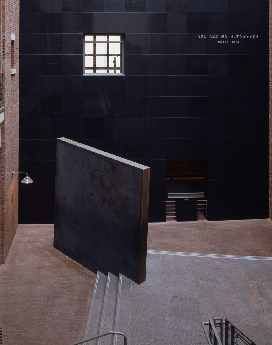 "A sculpture entitled ""Gravity"" by Richard Serra, displayed in the Hall of Witness of the U.S. Holocaust Memorial Museum."