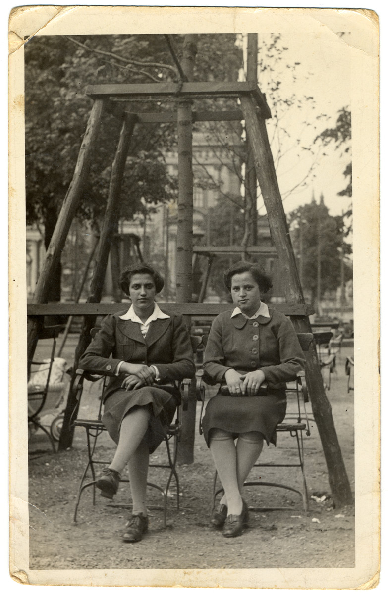 Two Jewish teenage girls sit in a park in Berlin.  Pictured are Hannale Goldemann and Dora Feinzack.