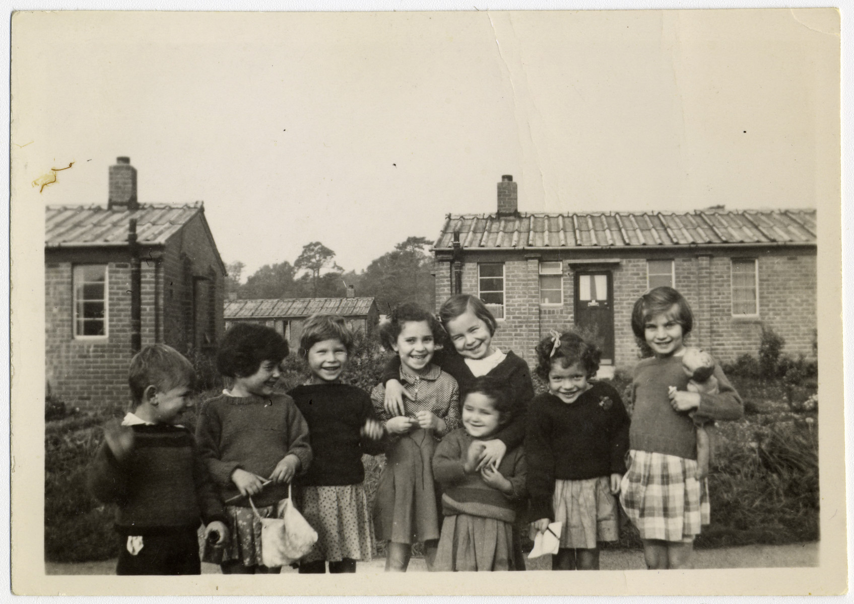 Group portrait of young child survivors in Windermere, England.