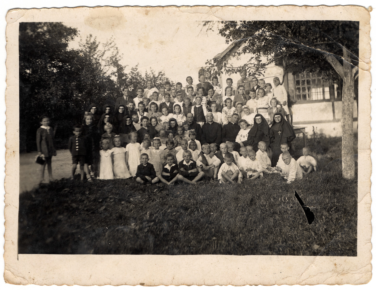 Group portrait of children in a monastery on the outskirsts of Lvov.    Among them were Jewish children in hiding including Hanna later Lewkowicz.