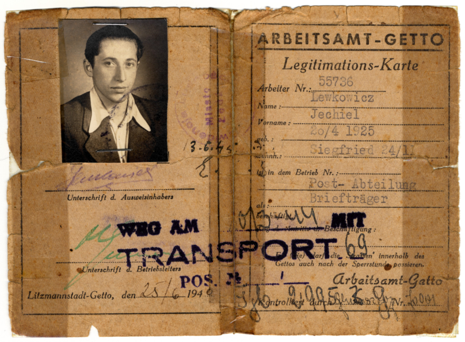Identification card of Jechiel Lewkowicz.