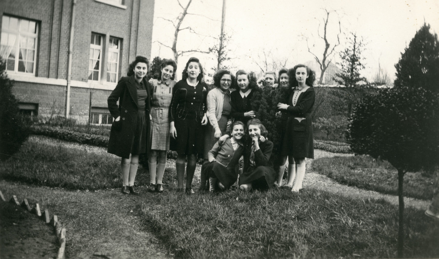 Group portrrait of girls in the Convent St. Antoine de Padue.   Liliane Ferdman is pictured fourth from the left.