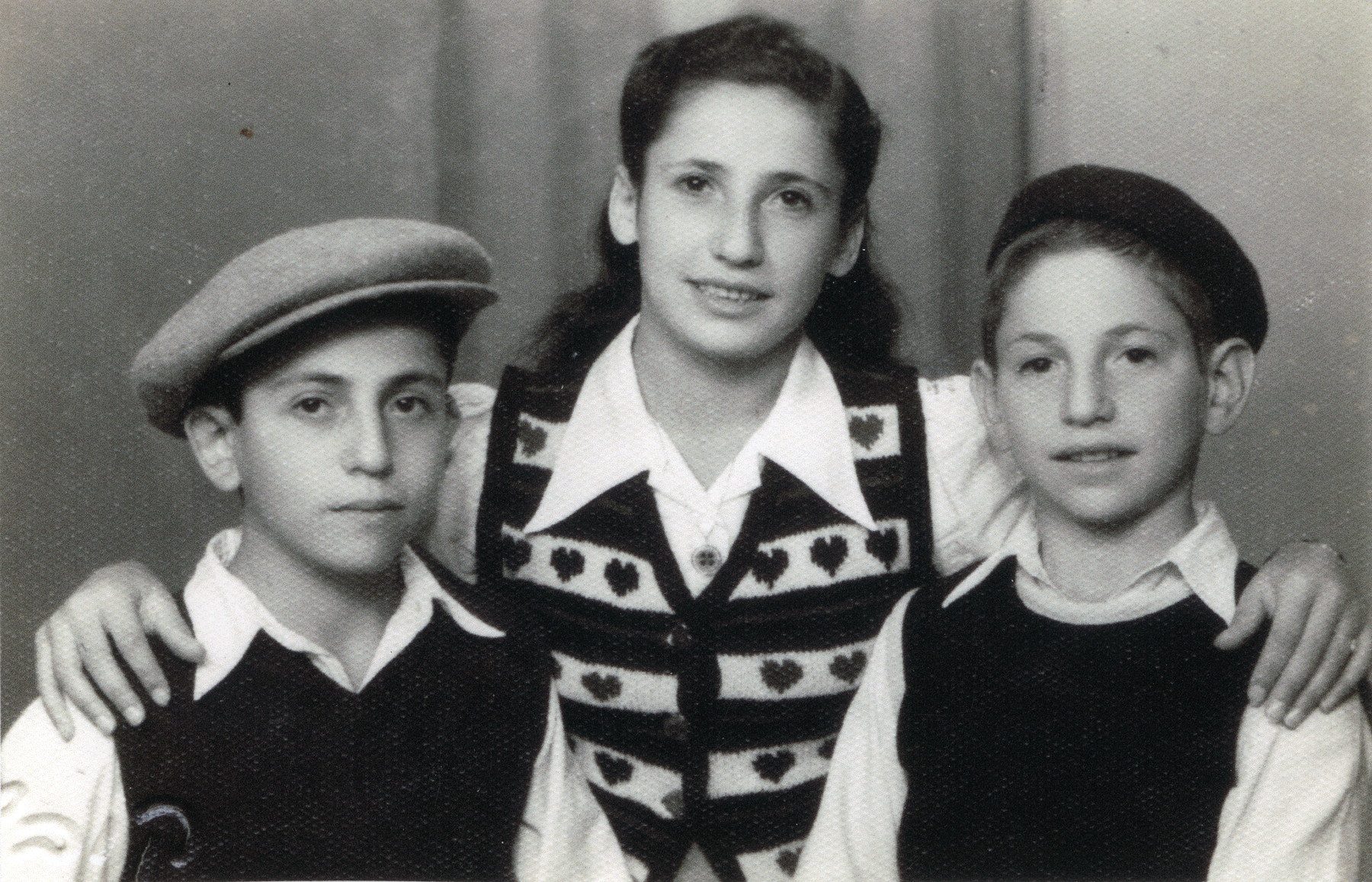 Studio portrait of Elissa, Elimelech and Michael Braunfeld taken after they arrived in Palestine.