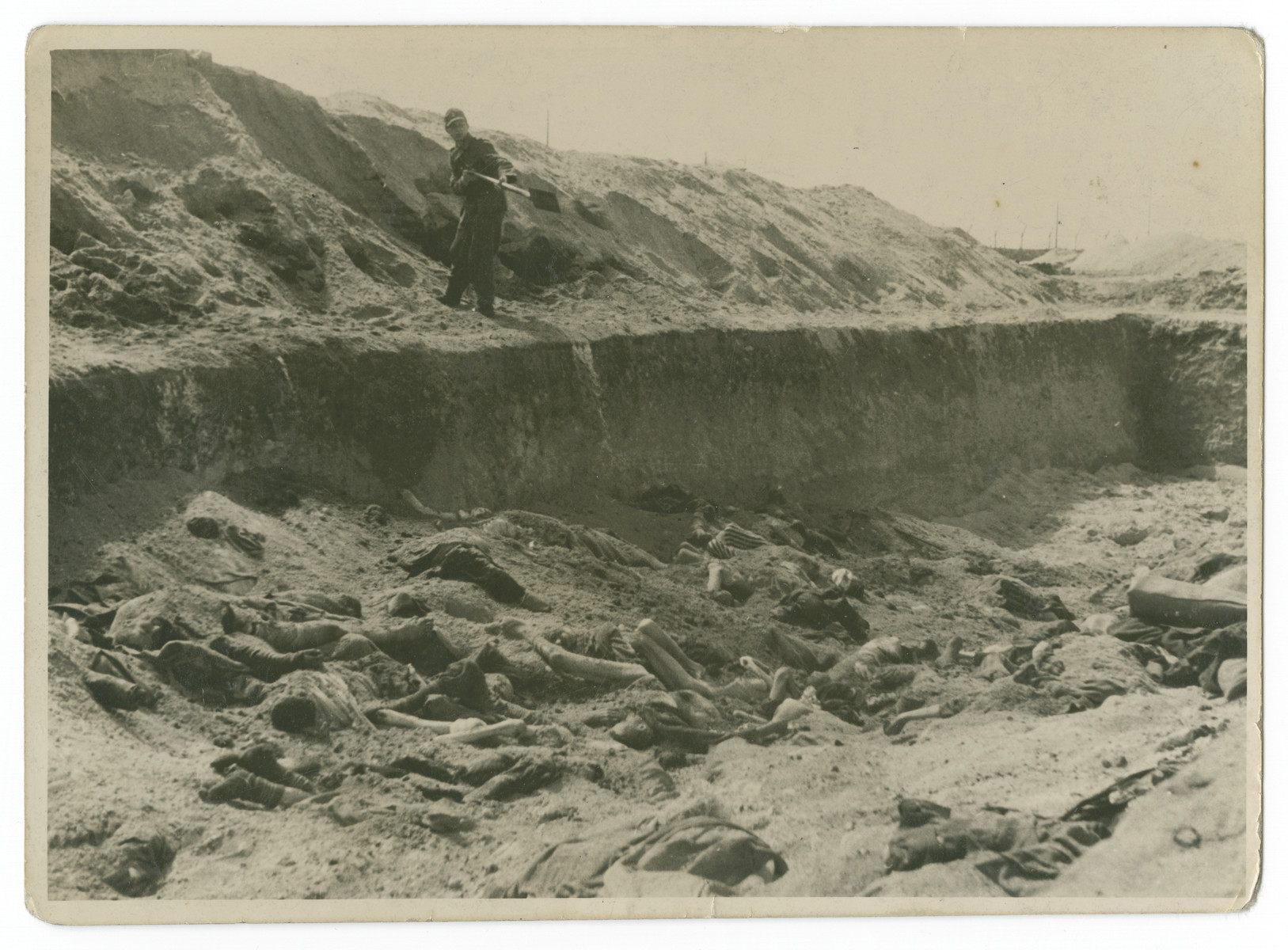 "A German prisoner [probably a former guard] buries victims' bodies in the Bergen-Belsen concentration camp following liberation.  The original caption reads: ""A German prisoner filling one of the pits at Belsen."""