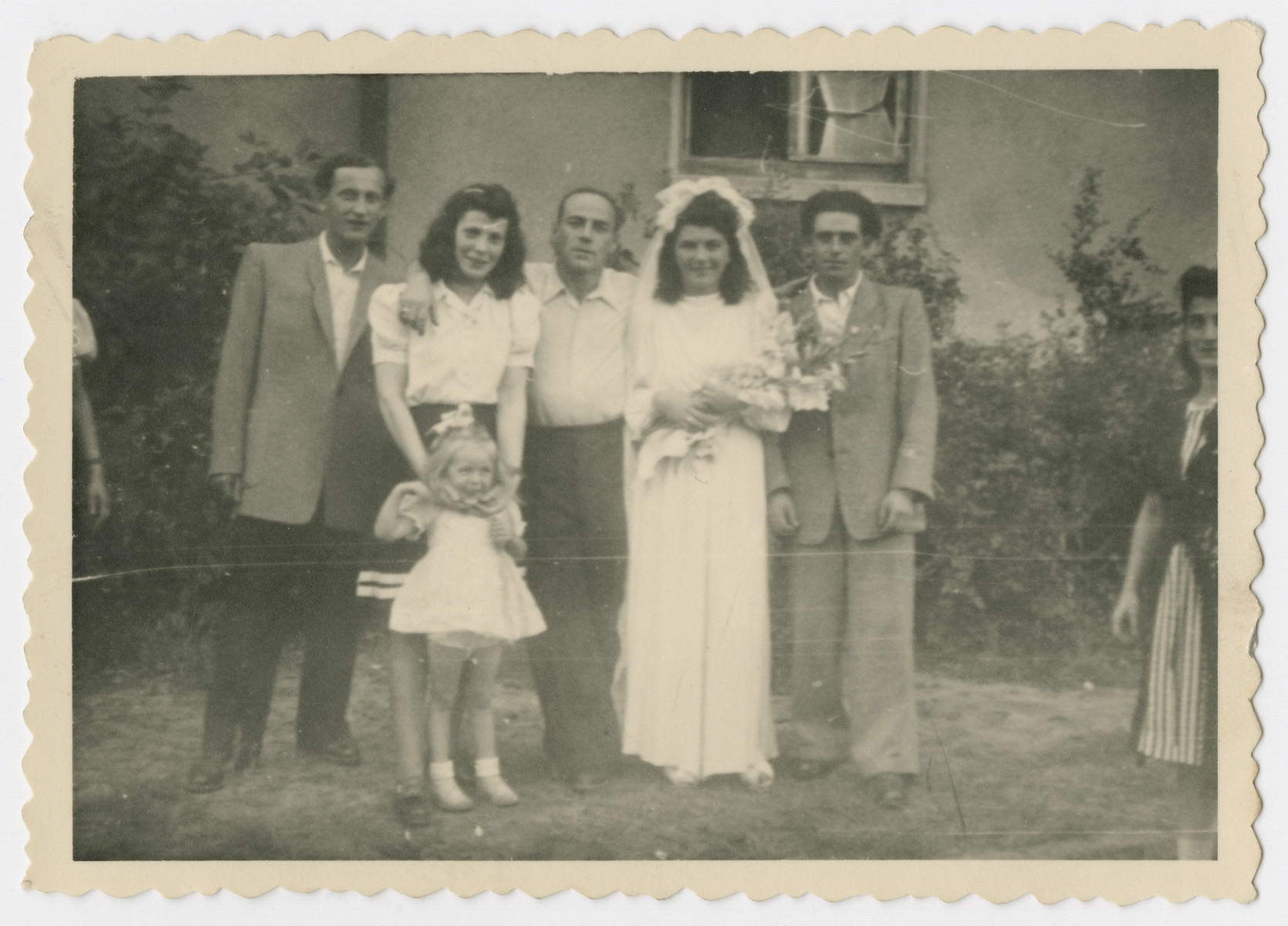 A few friends pose with David and Anna Rosenzweig at their wedding.  Their cousin Ben Rosenzweig is on the far left.