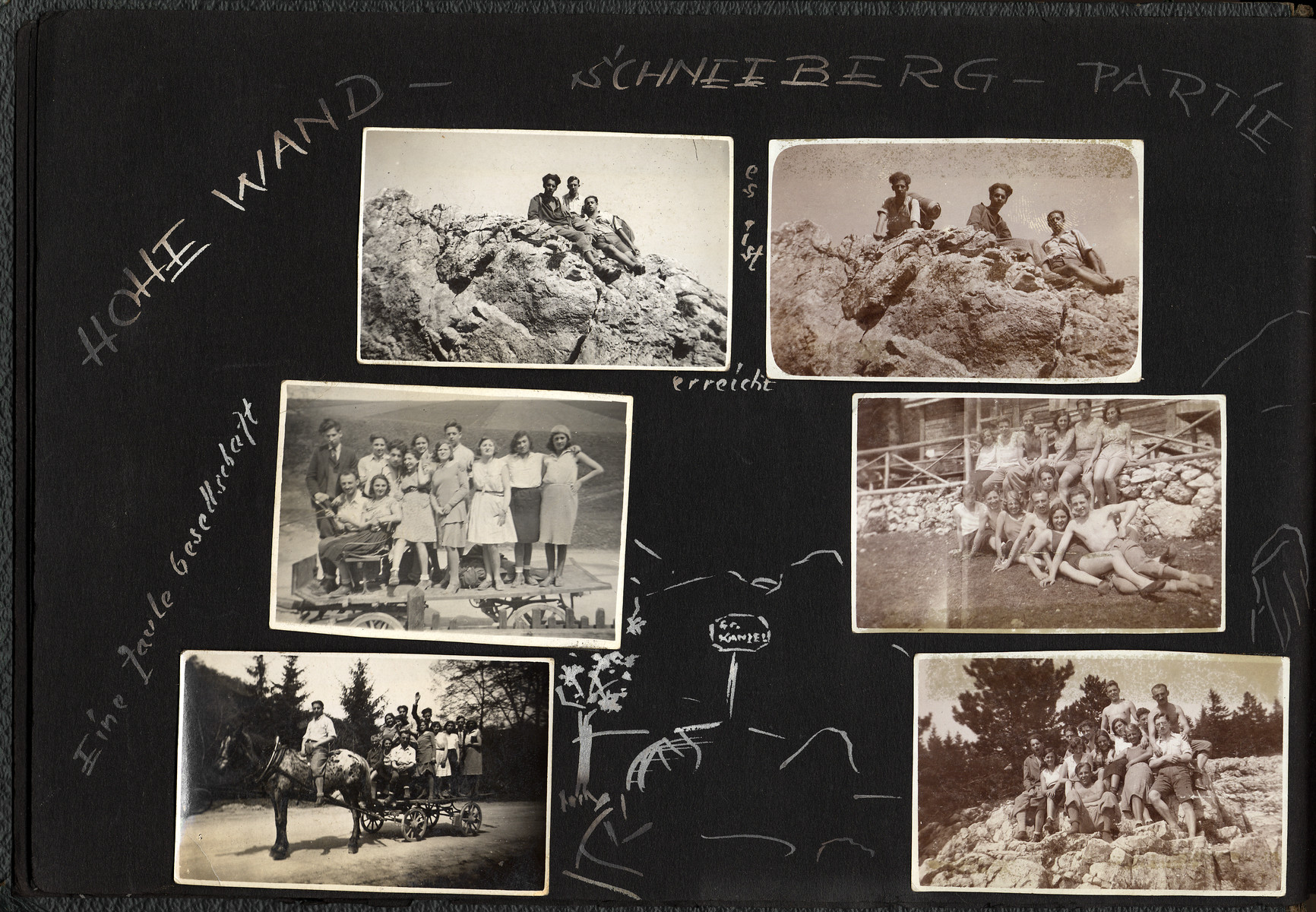 """Page from Otto Schenkelbach's photo album showing groups of friends hiking, climbing on rocks and riding in horse-drawn carts in the summer.  Around the pictures, it reads, """"Hohe Wand -- Schneeberg -- Partie -- es ist erreicht"""" [High Wall -- Schneeberg -- Party -- it is reached]."""