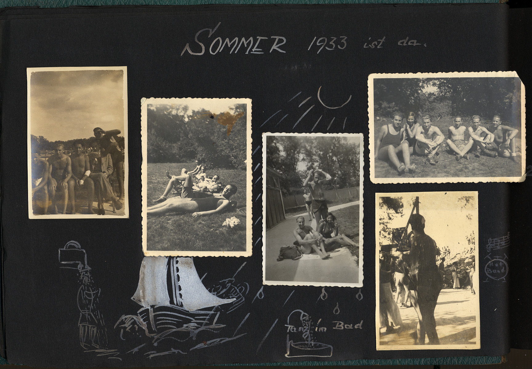 "Page of Otto Schenkelbach's photo album showing various summer pictures in swimsuits and in the grass.    The captions read, ""Sommer 1933 ist da"" [Summer of 1933 is here].  Another one says, ""Tanz im Bad"" [Dance in the bath]."