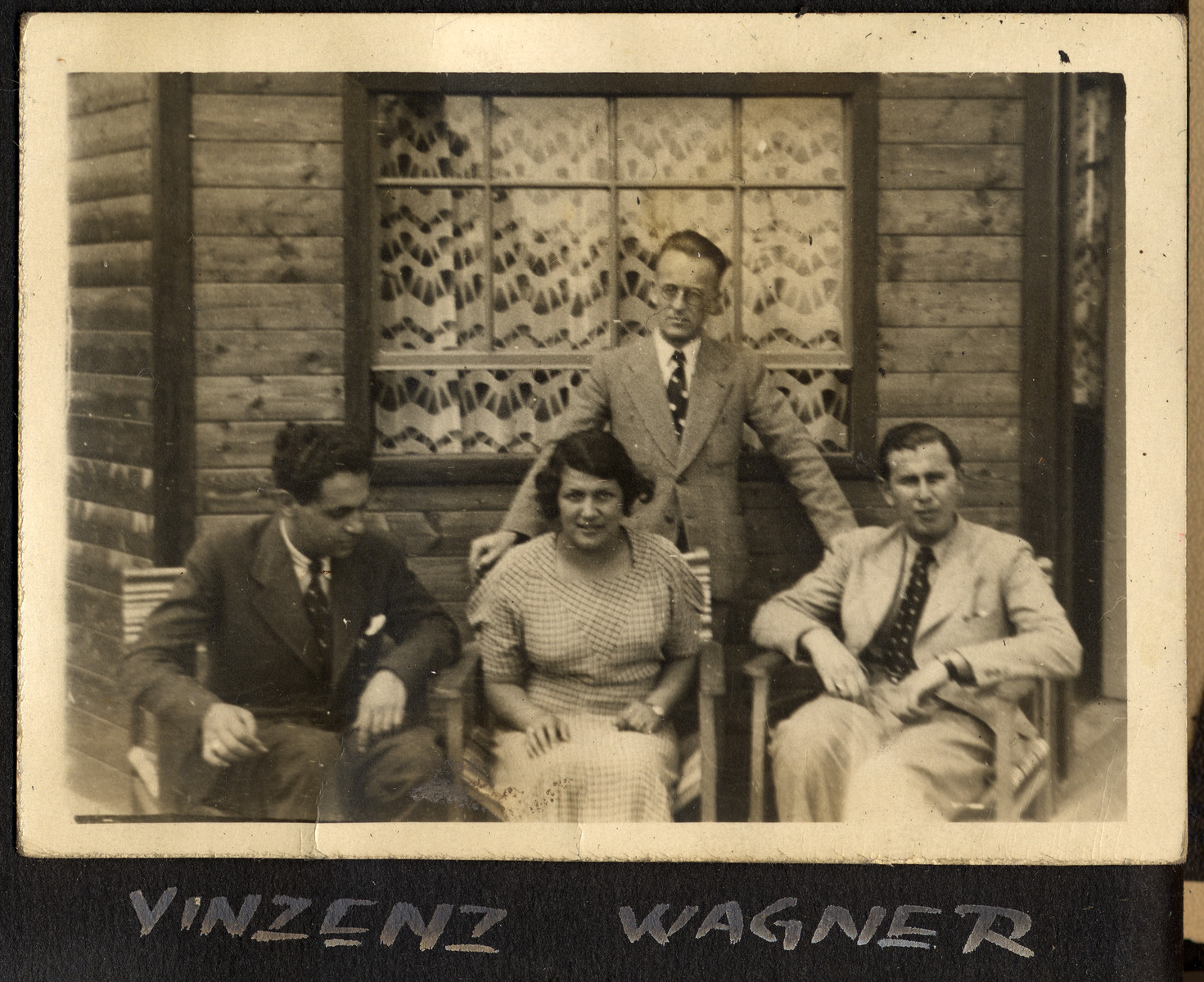"Page from Otto Schenkelbach's photo album showing an Austrian Jewish family and entitled ""Vinzenz Wagner."""