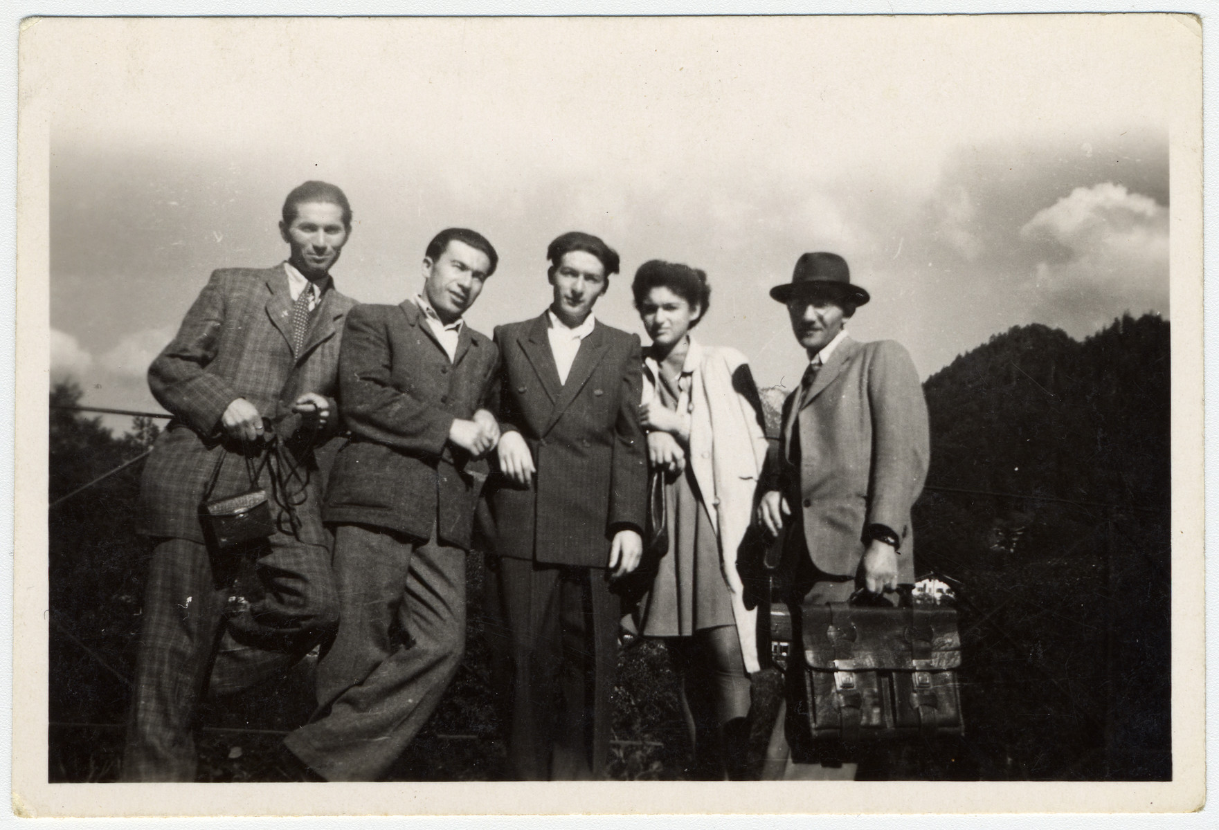 Group portrait of young adults in the Gabersee displaced persons camp.