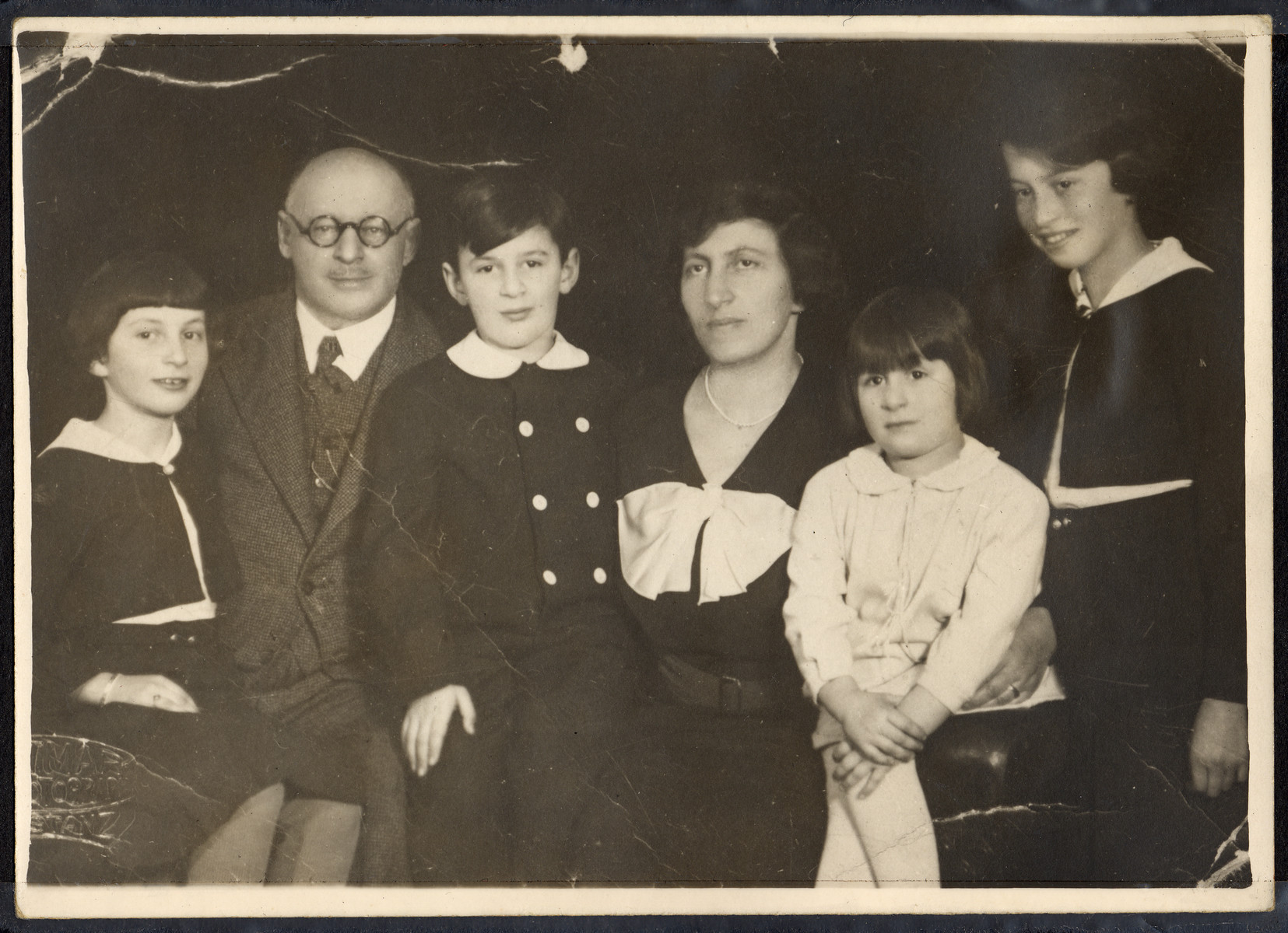 The Schwarzhaupt family sits for a studio portrait in 1935, right before the oldest daughters, Rose and Hanni, immigrate to the United States.  Pictured from the left are Hanni, Albert, Max, Hella, Ruth and Rose.