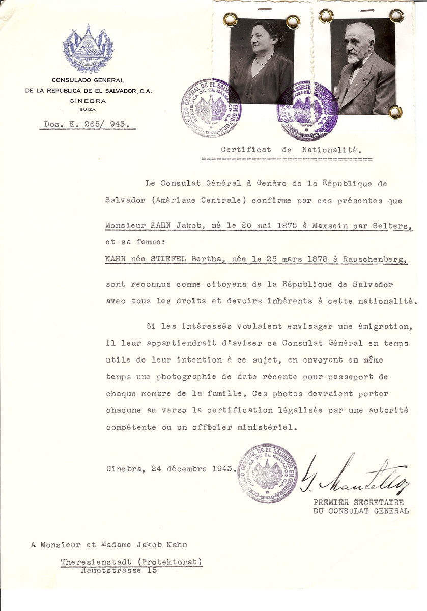Unauthorized Salvadoran citizenship certificate issued to Jakob Kahn (b. May 20, 1875 in Maxsein par Selters) and his wife Bertha (nee Stiefel) Kahn (b. March 25, 1878 in Rauschenberg) by George Mandel-Mantello, First Secretary of the Salvadoran Consulate in Switzerland and sent to them in Theresienstadt