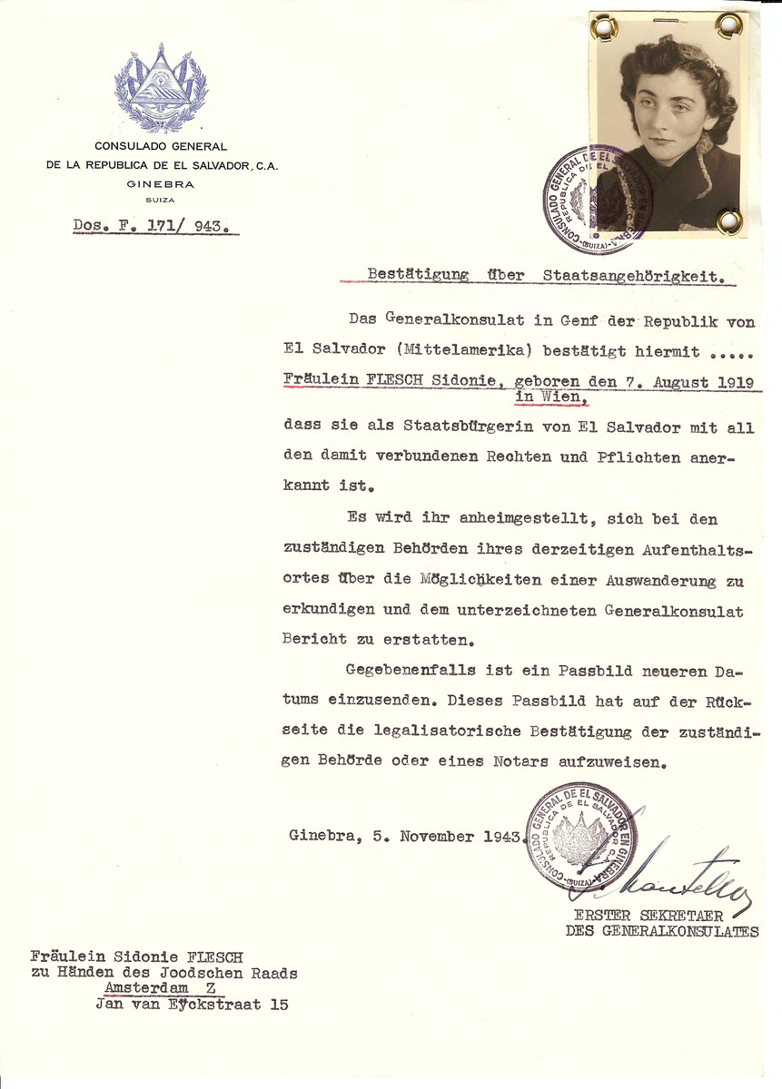 Unauthorized Salvadoran citizenship certificate issued to Sidonie Flesch (b. August 7, 1919 in Vienna) by George Mandel-Mantello, First Secretary of the Salvadoran Consulate in Switzerland and sent to her residence in Amsterdam.